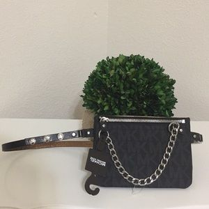 New Michael Kors signature waist belt bag in black
